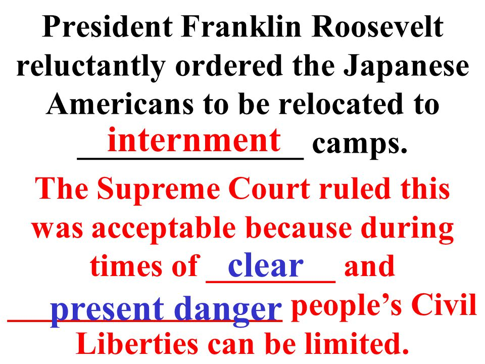 President Franklin Roosevelt reluctantly ordered the Japanese Americans to be relocated to ______________ camps.
