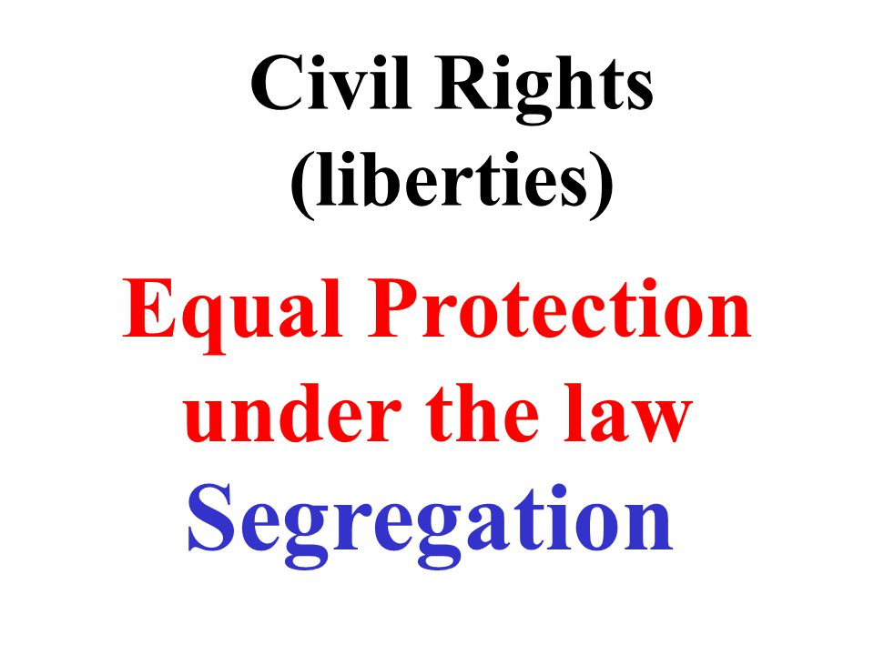 Civil Rights (liberties) Equal Protection under the law Segregation