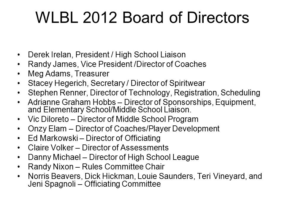 WLBL 2012 Board of Directors Derek Irelan, President / High School Liaison Randy James, Vice President /Director of Coaches Meg Adams, Treasurer Stacey Hegerich, Secretary / Director of Spiritwear Stephen Renner, Director of Technology, Registration, Scheduling Adrianne Graham Hobbs – Director of Sponsorships, Equipment, and Elementary School/Middle School Liaison.