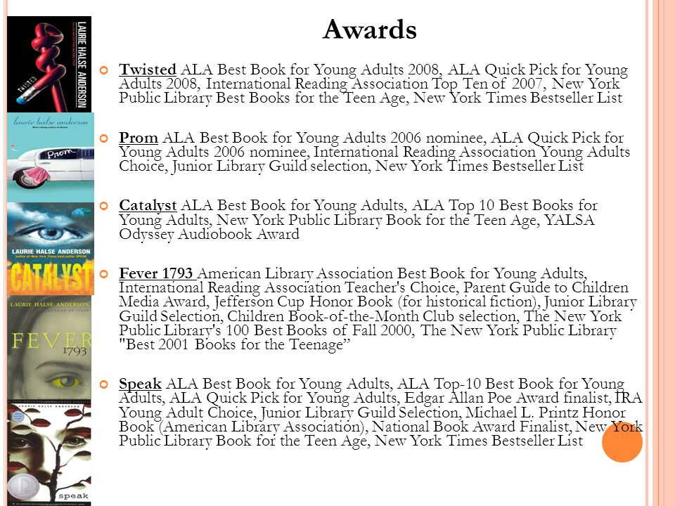Awards Twisted ALA Best Book for Young Adults 2008, ALA Quick Pick for Young Adults 2008, International Reading Association Top Ten of 2007, New York