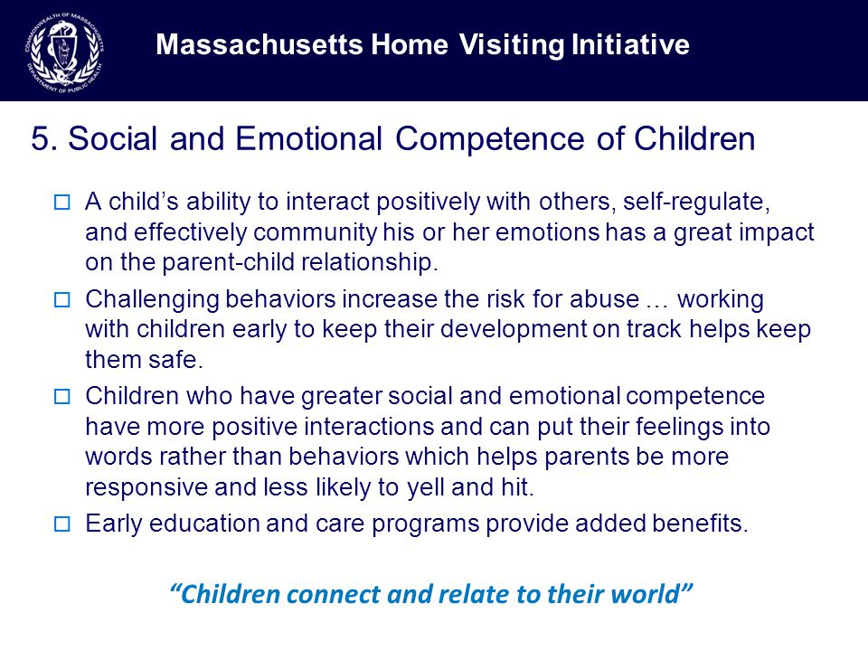 5. Social and Emotional Competence of Children  A child's ability to interact positively with others, self-regulate, and effectively community his or