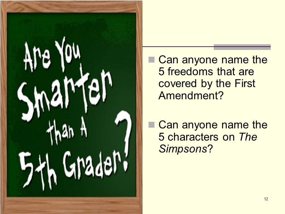 Can anyone name the 5 freedoms that are covered by the First Amendment? Can anyone name the 5 characters on The Simpsons? 12
