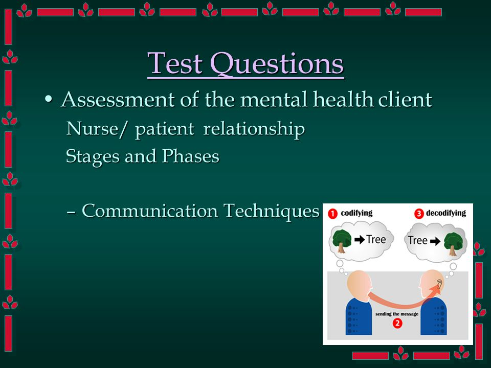 Test Questions Assessment of the mental health clientAssessment of the mental health client Nurse/ patient relationship Stages and Phases –Communication Techniques