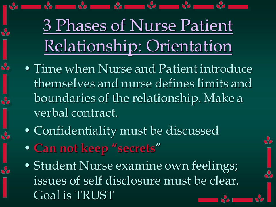 3 Phases of Nurse Patient Relationship: Orientation Time when Nurse and Patient introduce themselves and nurse defines limits and boundaries of the relationship.
