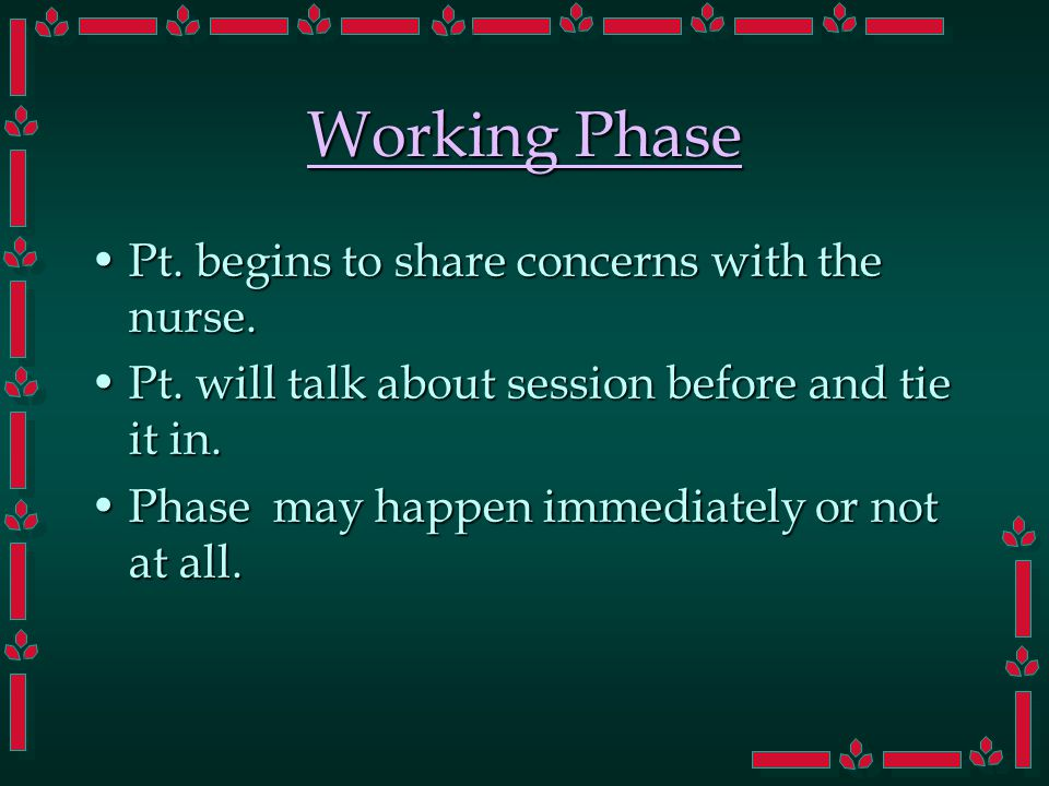 Working Phase Pt. begins to share concerns with the nurse.Pt.