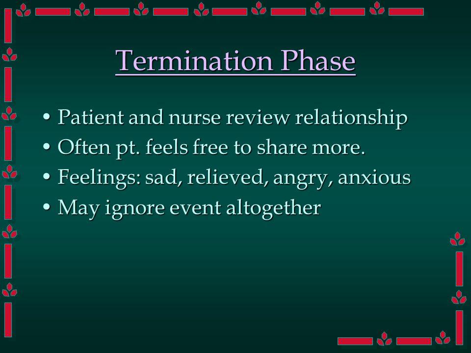 Termination Phase Patient and nurse review relationshipPatient and nurse review relationship Often pt.