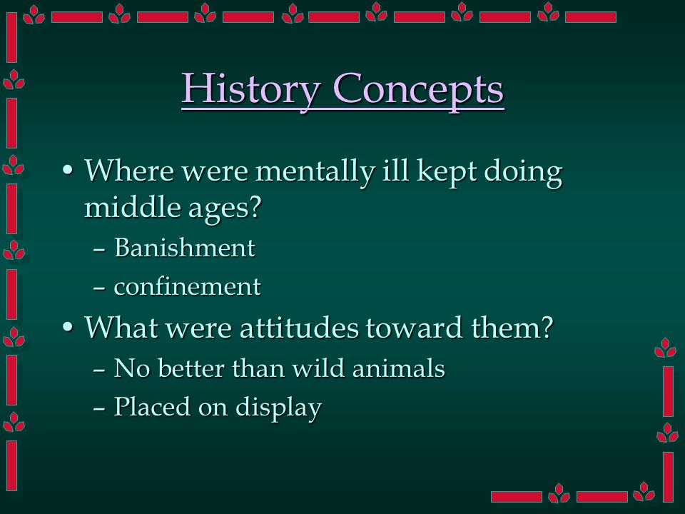 History Concepts Where were mentally ill kept doing middle ages Where were mentally ill kept doing middle ages.