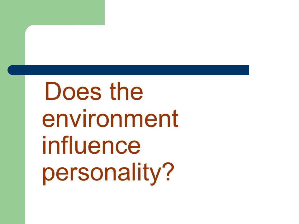 Does the environment influence personality?