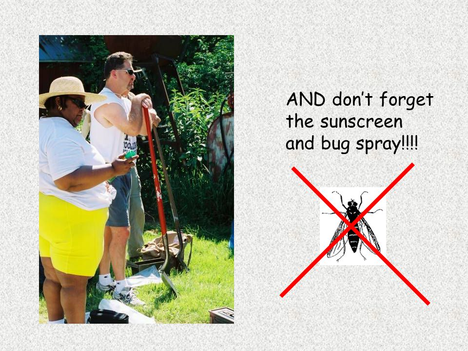 AND don't forget the sunscreen and bug spray!!!!