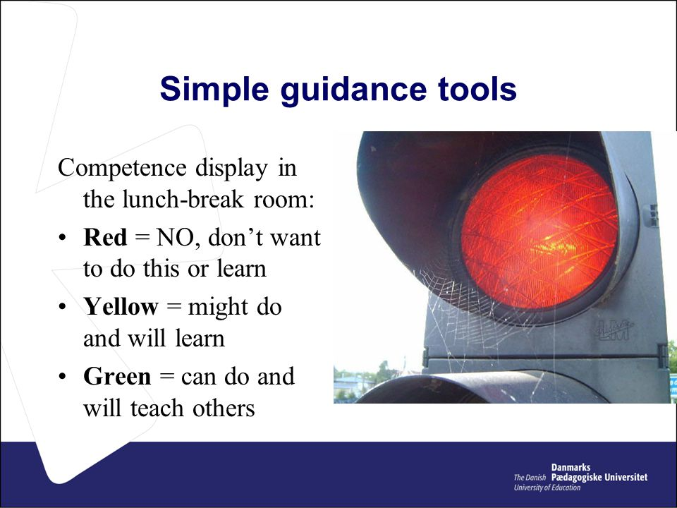 Simple guidance tools Competence display in the lunch-break room: Red = NO, don't want to do this or learn Yellow = might do and will learn Green = can do and will teach others
