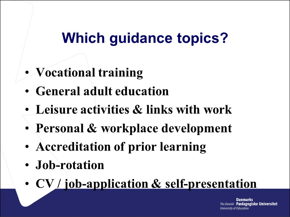 Which guidance topics.