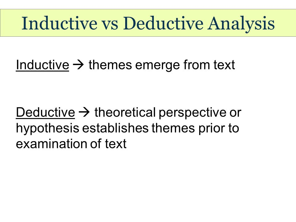 Inductive vs Deductive Analysis Inductive  themes emerge from text Deductive  theoretical perspective or hypothesis establishes themes prior to examination of text