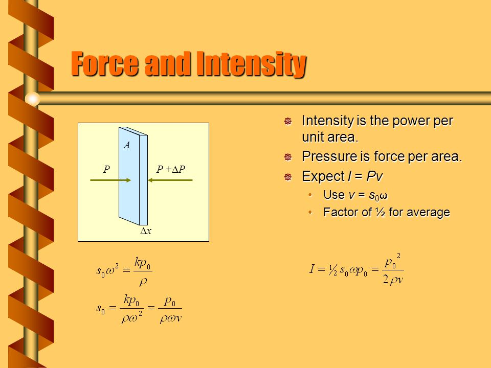 Force and Intensity  Intensity is the power per unit area.