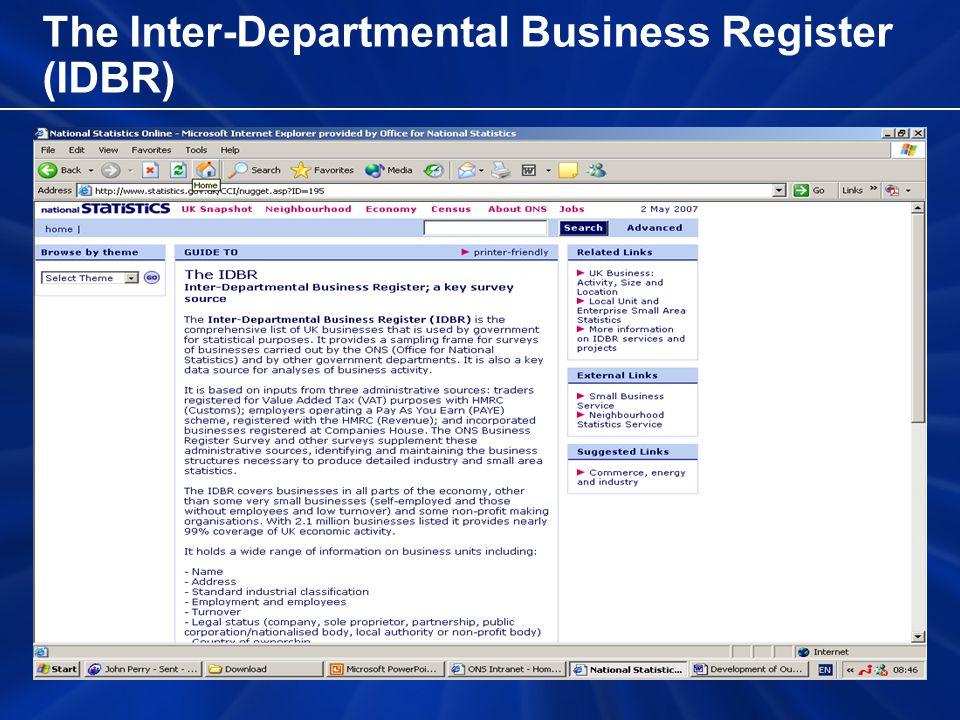 The Inter-Departmental Business Register (IDBR)