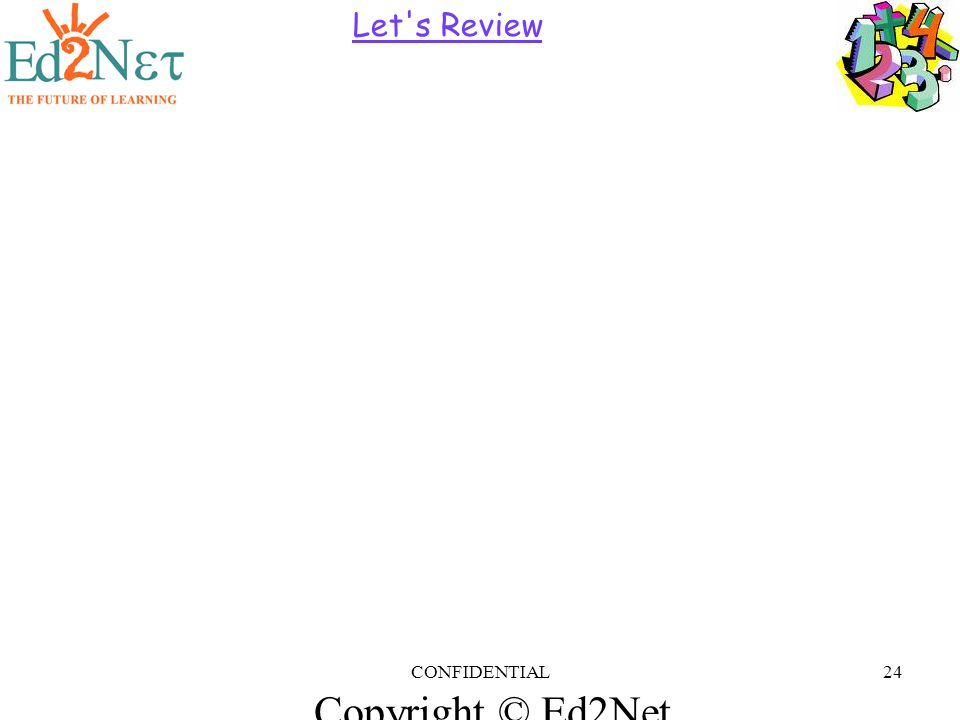Copyright © Ed2Net Learning, Inc. CONFIDENTIAL24 Let s Review