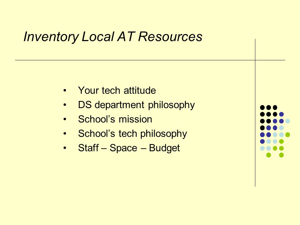 Inventory Local AT Resources Your tech attitude DS department philosophy School's mission School's tech philosophy Staff – Space – Budget
