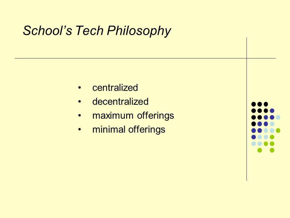 School's Tech Philosophy centralized decentralized maximum offerings minimal offerings