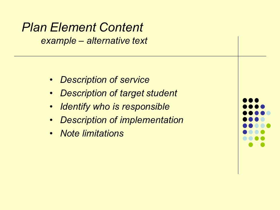 Plan Element Content example – alternative text Description of service Description of target student Identify who is responsible Description of implementation Note limitations