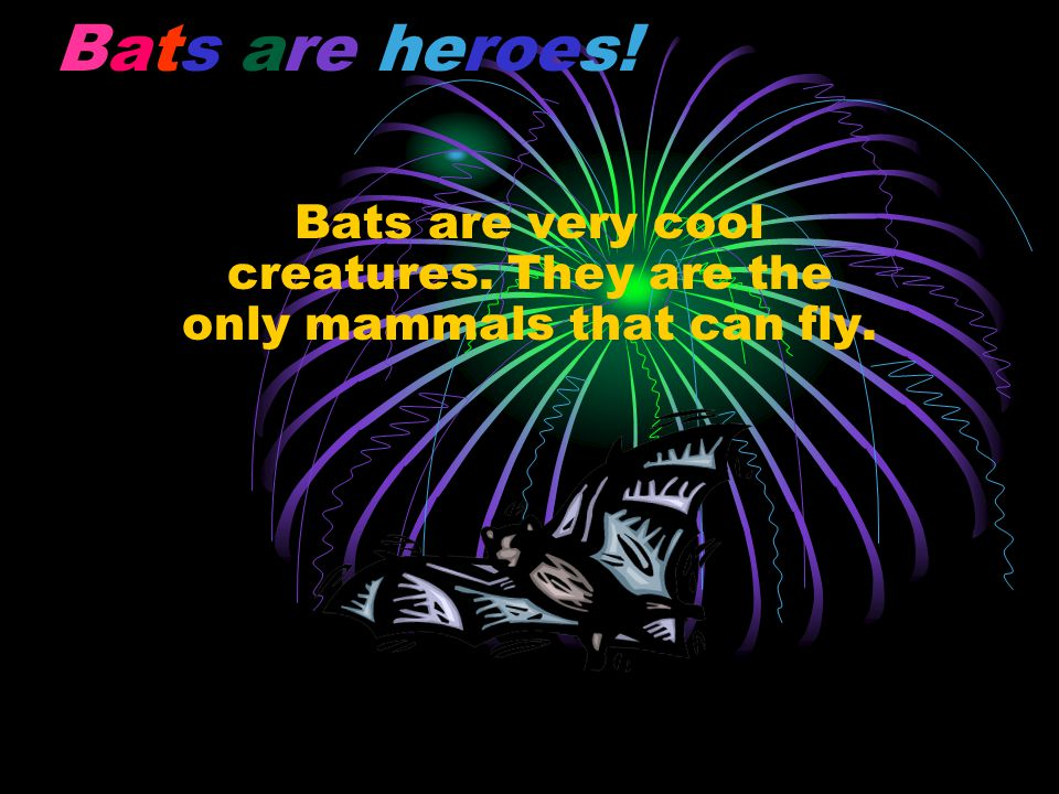 Bats are heroes! Bats are very cool creatures. They are the only mammals that can fly.