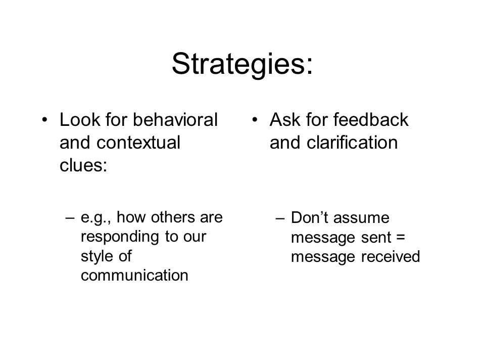 Strategies: Look for behavioral and contextual clues: –e.g., how others are responding to our style of communication Ask for feedback and clarification –Don't assume message sent = message received