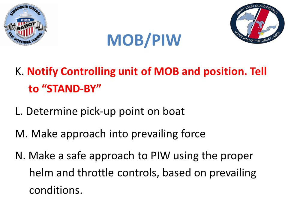 MOB/PIW K. Notify Controlling unit of MOB and position.