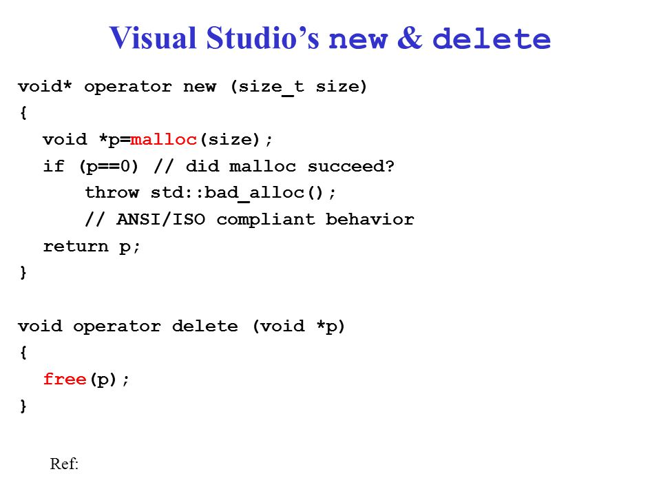 Visual Studio's new & delete void* operator new (size_t size) { void *p=malloc(size); if (p==0) // did malloc succeed.