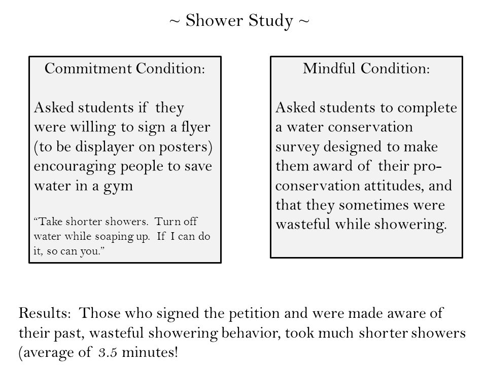 ~ Shower Study ~ Commitment Condition: Asked students if they were willing to sign a flyer (to be displayer on posters) encouraging people to save water in a gym Take shorter showers.