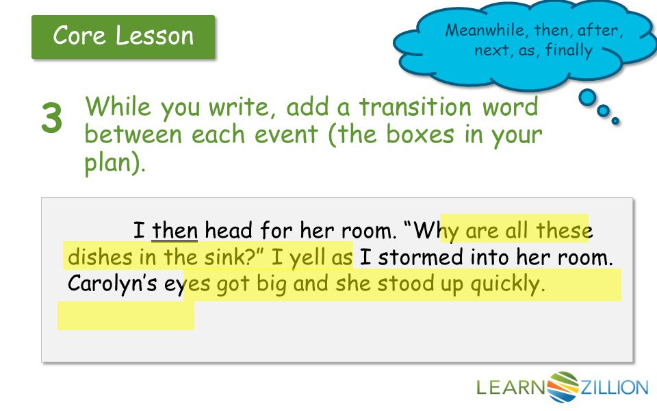 Core Lesson 3 While you write, add a transition word between each event (the boxes in your plan).