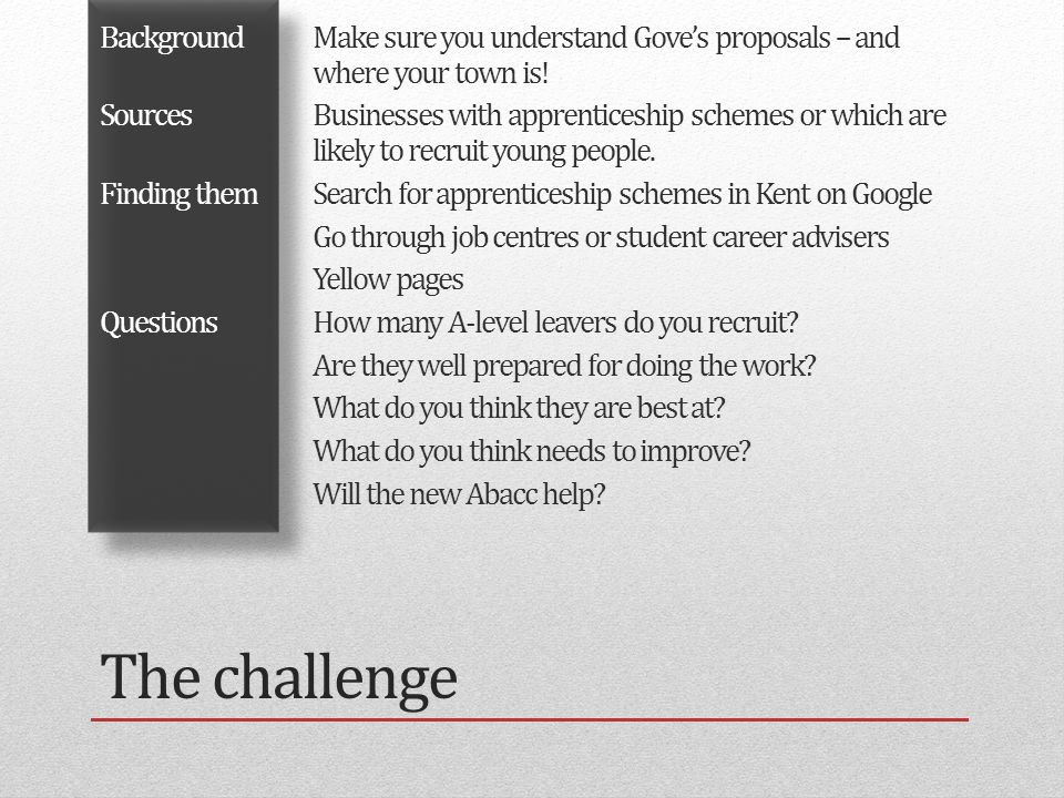 The challenge BackgroundMake sure you understand Gove's proposals – and where your town is.
