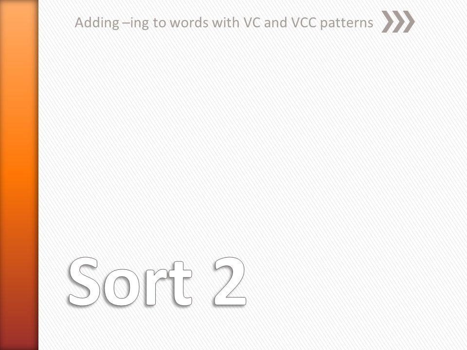 Adding –ing to words with VC and VCC patterns