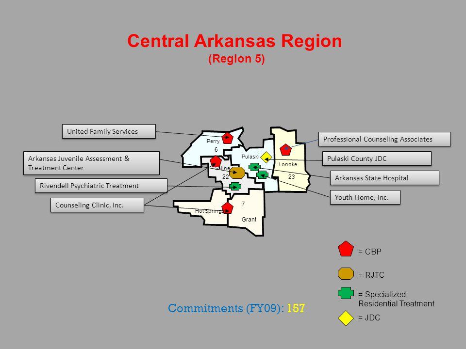 Saline Pulaski Perry Lonoke Hot Springs Central Arkansas Region (Region 5) Grant = CBP = RJTC = Specialized Residential Treatment = JDC 6 23 7 22 Prof