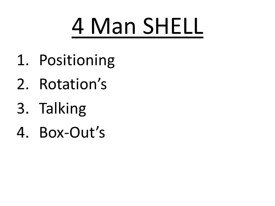 4 Man SHELL 1.Positioning 2.Rotation's 3.Talking 4.Box-Out's