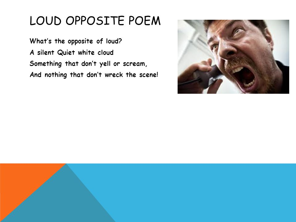 LOUD OPPOSITE POEM What's the opposite of loud? A silent Quiet white cloud Something that don't yell or scream, And nothing that don't wreck the scene