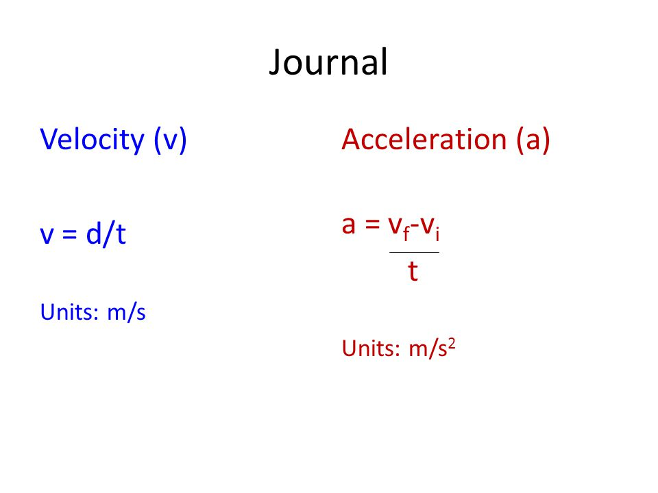 Journal Velocity (v) v = d/t Units: m/s Acceleration (a) a = v f -v i t Units: m/s 2