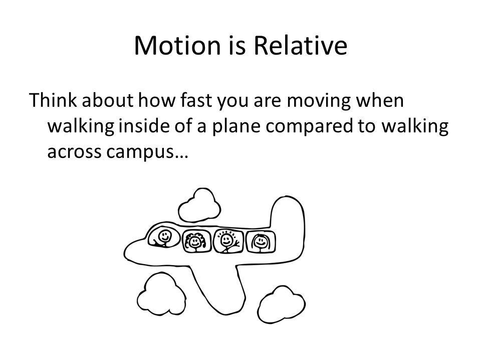 Motion is Relative Think about how fast you are moving when walking inside of a plane compared to walking across campus…