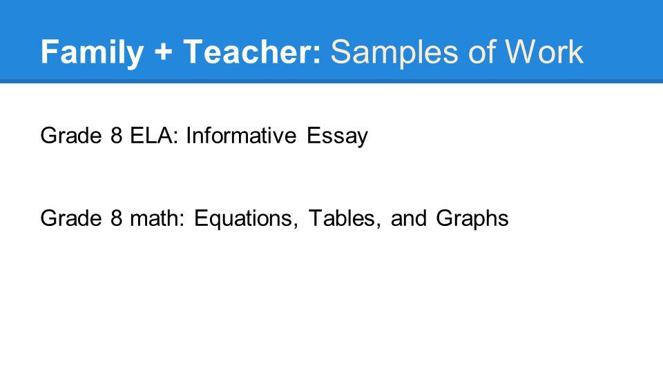 Family + Teacher: Samples of Work Grade 8 ELA: Informative Essay Grade 8 math: Equations, Tables, and Graphs