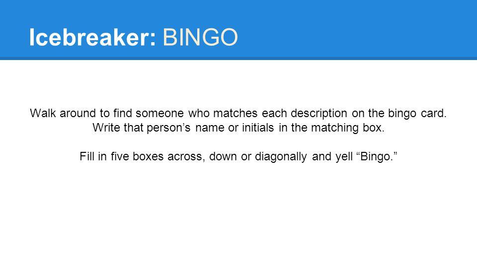 Icebreaker: BINGO Walk around to find someone who matches each description on the bingo card.