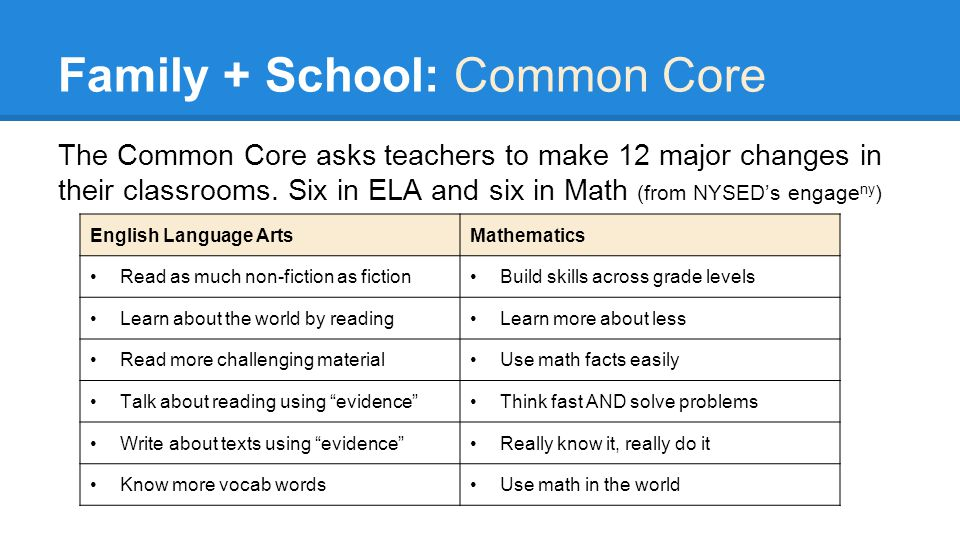 Family + School: Common Core The Common Core asks teachers to make 12 major changes in their classrooms.