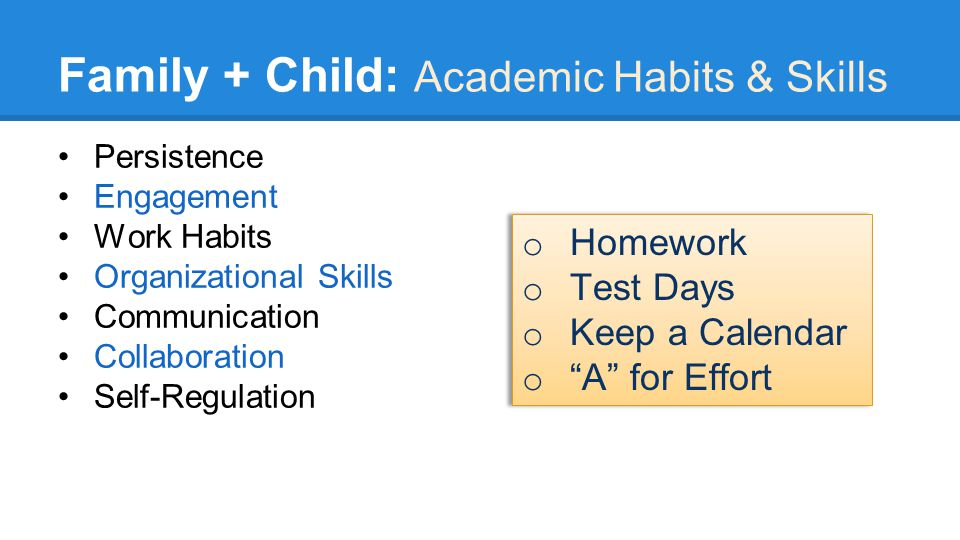 Family + Child: Academic Habits & Skills Persistence Engagement Work Habits Organizational Skills Communication Collaboration Self-Regulation o Homework o Test Days o Keep a Calendar o A for Effort o Homework o Test Days o Keep a Calendar o A for Effort