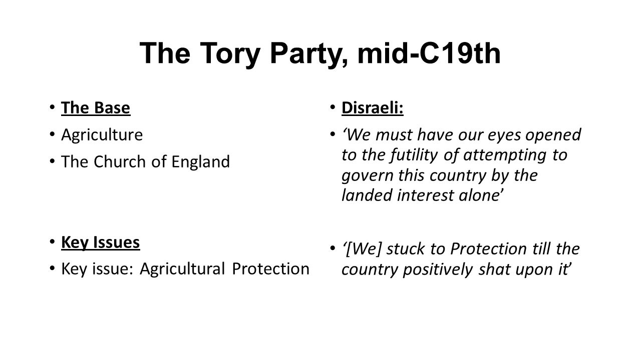 The Tory Party, mid-C19th The Base Agriculture The Church of England Key Issues Key issue: Agricultural Protection Disraeli: 'We must have our eyes opened to the futility of attempting to govern this country by the landed interest alone' '[We] stuck to Protection till the country positively shat upon it'
