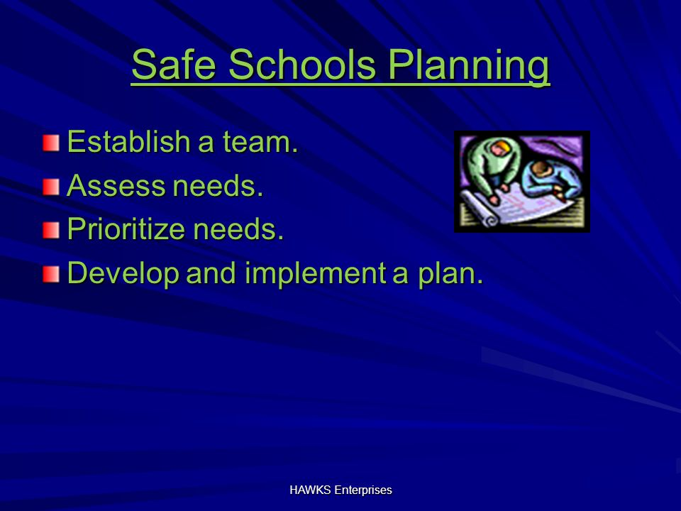 Safe Schools Planning Establish a team. Assess needs.