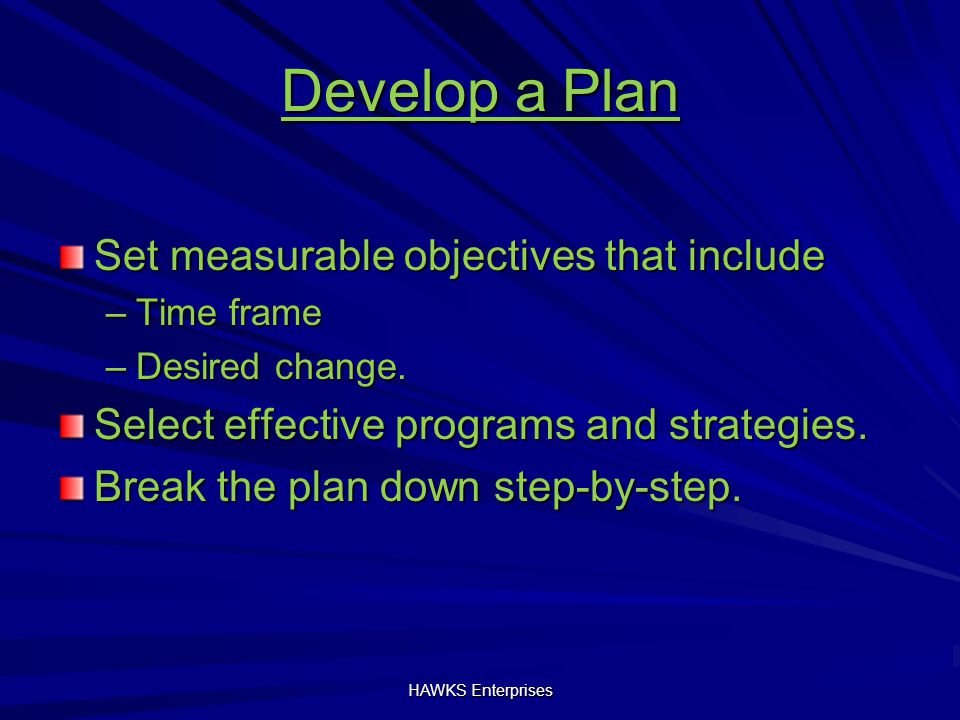Develop a Plan Set measurable objectives that include –Time frame –Desired change.