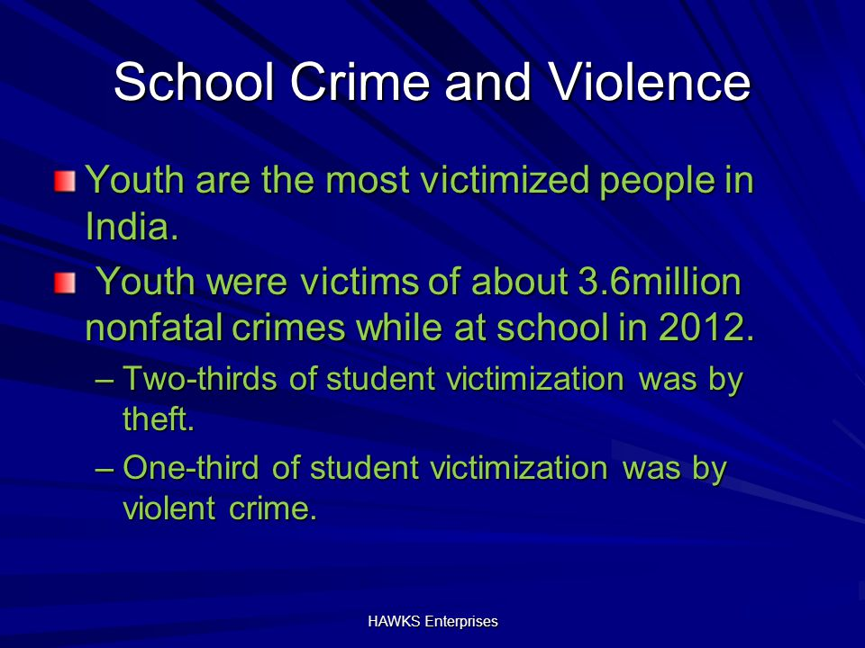 School Crime and Violence Youth are the most victimized people in India.