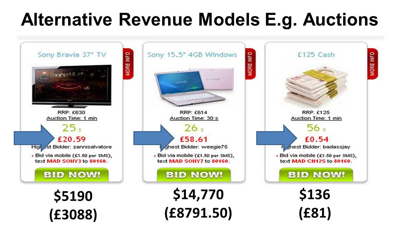Alternative Revenue Models E.g. Auctions $5190 (£3088) $14,770 (£8791.50) $136 (£81)