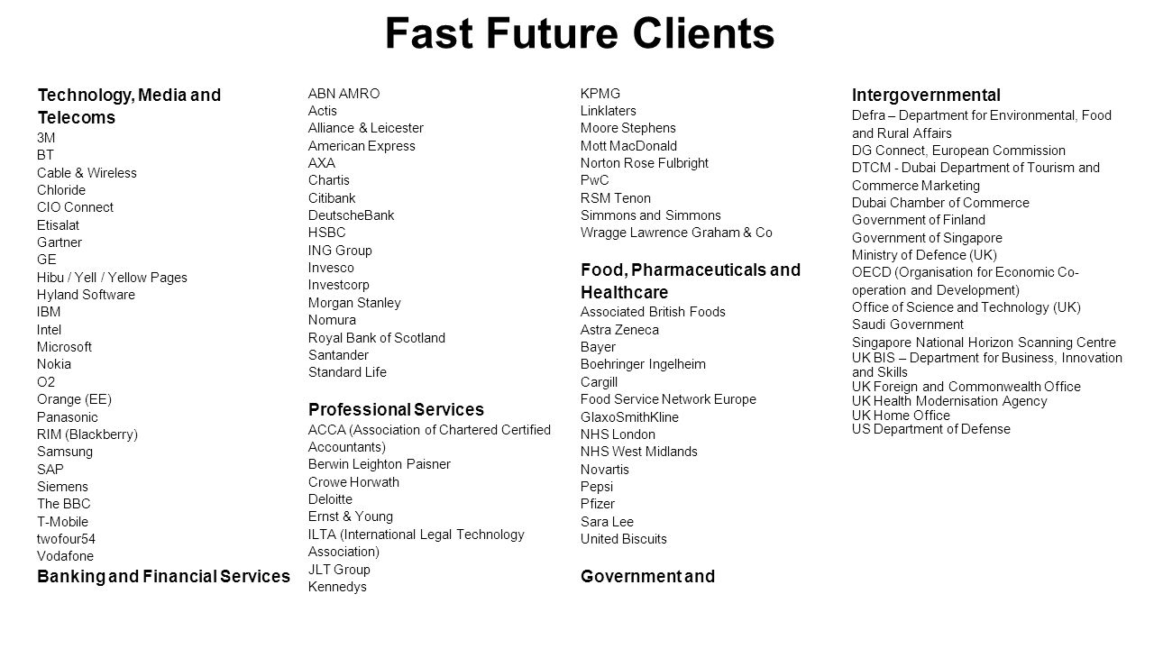 Fast Future Clients Technology, Media and Telecoms 3M BT Cable & Wireless Chloride CIO Connect Etisalat Gartner GE Hibu / Yell / Yellow Pages Hyland S