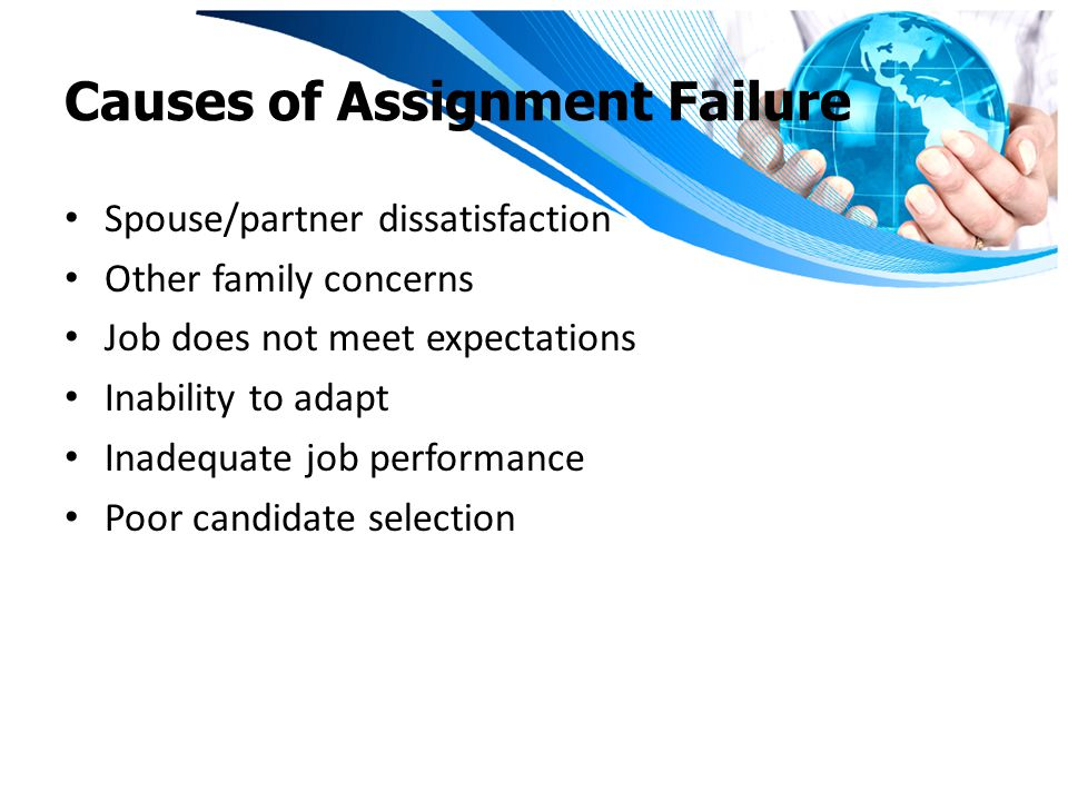 Causes of Assignment Failure Spouse/partner dissatisfaction Other family concerns Job does not meet expectations Inability to adapt Inadequate job performance Poor candidate selection
