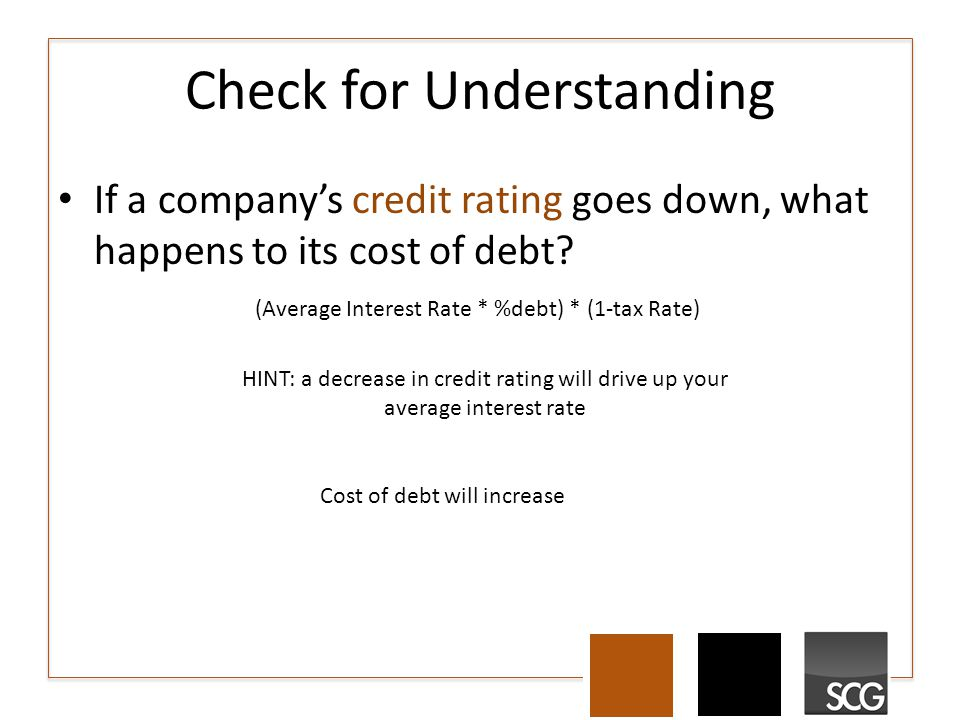 Check for Understanding If a company's credit rating goes down, what happens to its cost of debt.