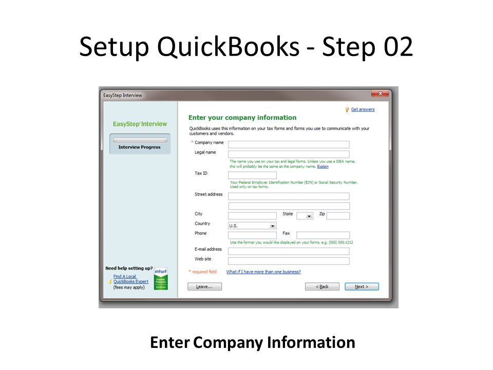 Setup QuickBooks - Step 02 Enter Company Information