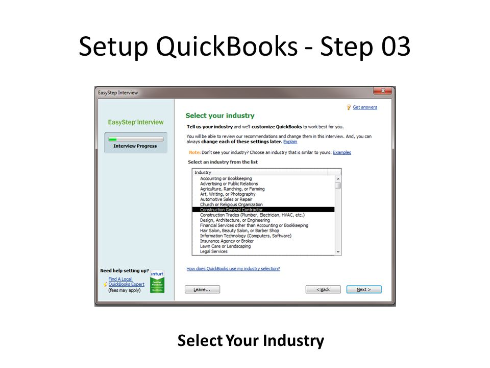 Setup QuickBooks - Step 03 Select Your Industry