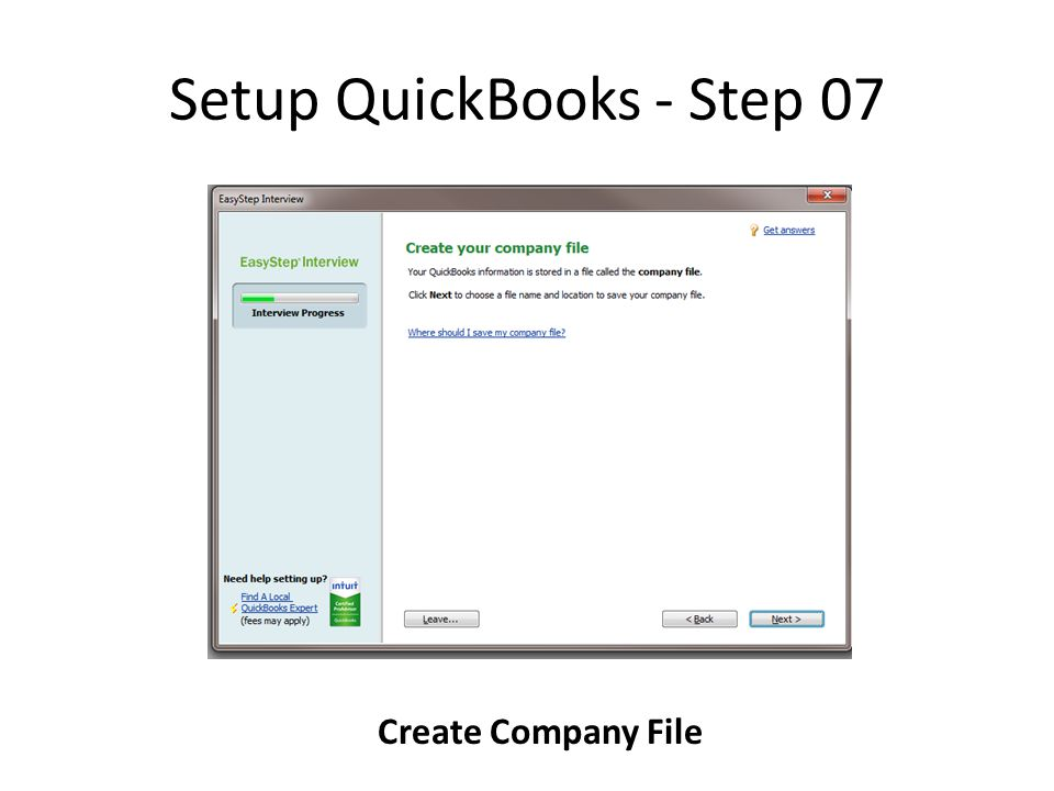 Setup QuickBooks - Step 07 Create Company File